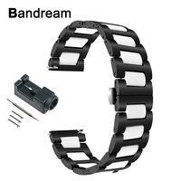 Ceramic + Stainless Steel Watchband for Garmin Vivoactive 3 Ticwatch 2 / E Samsung Gear Sport Watch Band Quick Release Strap