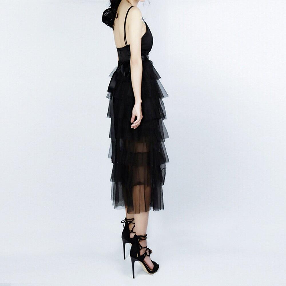 Moda Sexy vestidos de mujer negro espalda descubierta Spaghetti Strap vestidos largos señoras de corte bajo cuello en V vestidos de fiesta de verano nuevos Ins - 4