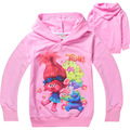 2017 New Trolls Girls T-Shirts Cartoon Cotton Christmas Costume T-Shirt For Girls Kids Hooded T-Shirts Lovely Children Clothing