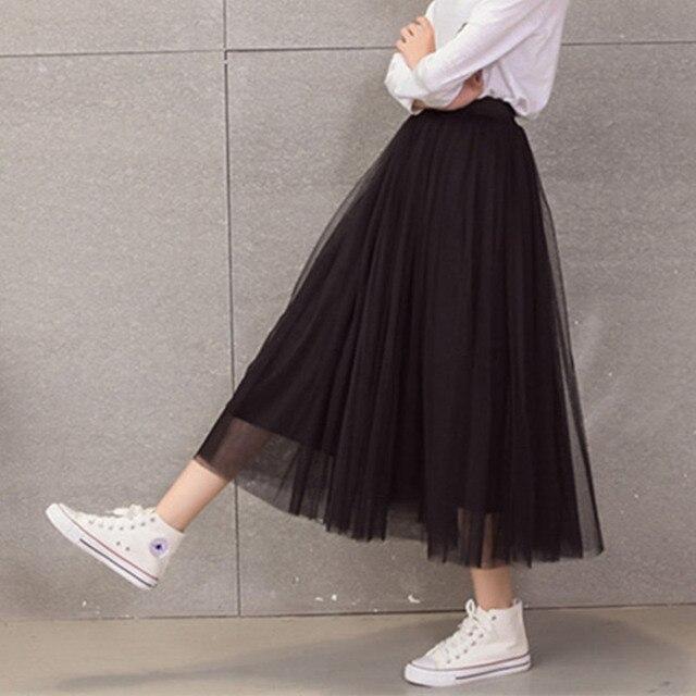 modèle longue taille faldas mode adulte big femmes haute jupe swing tutu maxi Printemps coréen jupes Ewfwq