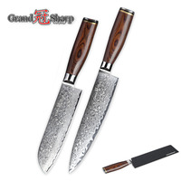 2 Piece Damascus Knife Set 67 Layers Japanese Damascus Steel vg10 Chef Santoku Damascus Kitchen Knives Cleaver FREE SHIPPING