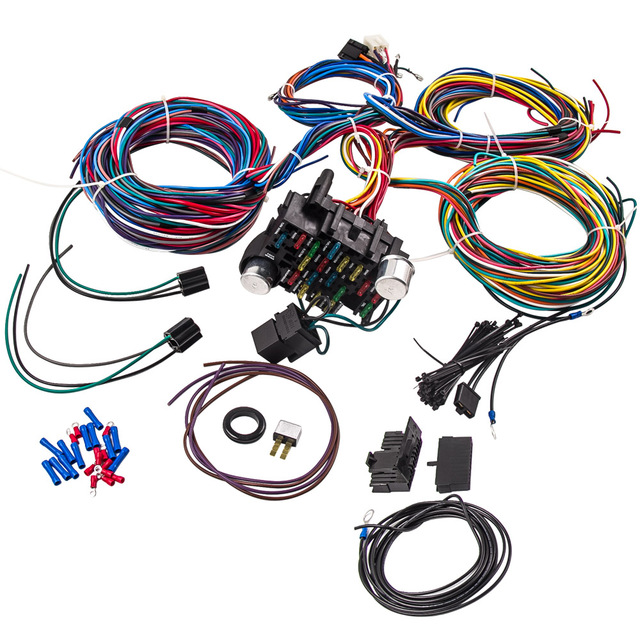 21 Circuit Wiring Harness Hot Rod Universal Wire Kit For Chevy ... on chevy warning sticker, chevy alternator harness, chevy wiring horn, chevy clutch assembly, chevy 1500 wireing harness color codes, chevy rear diff, chevy battery terminal, chevy front fender, chevy speaker wiring, chevy radiator cap, chevy wheel cylinders, chevy fan motor, chevy wiring schematics, chevy relay switch, chevy speaker harness, chevy crossmember, chevy power socket, chevy wiring connectors, chevy clutch line, chevy abs unit,