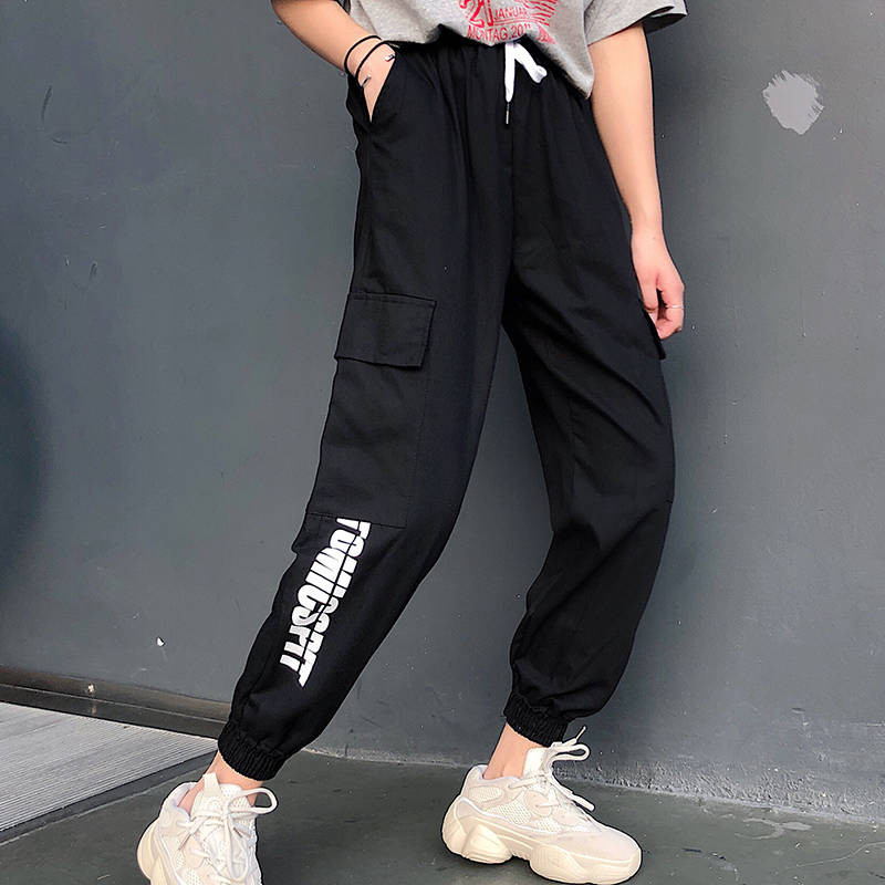 Harajuku Casual Black Cargo   Pants   Women Elastic High Waist   Pants     Capris   Streetwear Korean Sweatpants Joggers Hip Hop   Pants   Girl