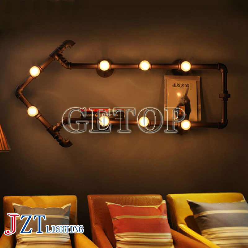 J best price Wall Lamp Water Pipe Arrow Shape Lighting fixture Retro Industrial Edison Bulb Lamp for Bar Restaurant Lighting industrial vintage 4pcs e27 edison bulb water pipe pendant lamp rustic retro lustres hanging lighting for bar cafe shop fixture