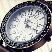 Новый бренд WoMaGe часы Для женщин леди девушка кожаный ремешок Ретро Стиль циферблат Повседневное женские Модные наручные часы браслет Винтаж платье