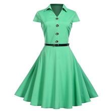 Vintage Short Sleeve button bandage party dress