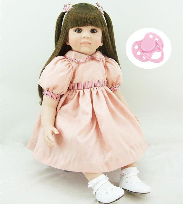 60 см силиконовые возрождается девочка игрушки куклы реалистичные 24-дюймовый винил принцессы для малышей куклы день рождения девочек Brinquedos