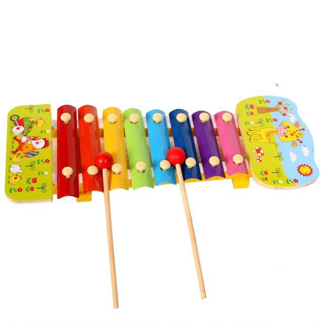 Crianças instrumento musical 8 nota xilofone de madeira aprendizagem precoce toys para a menina com impressão musicak toys d327