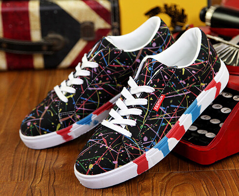 Womens Canvas Casual Shoes Camouflage Painting Shoe Lace Up