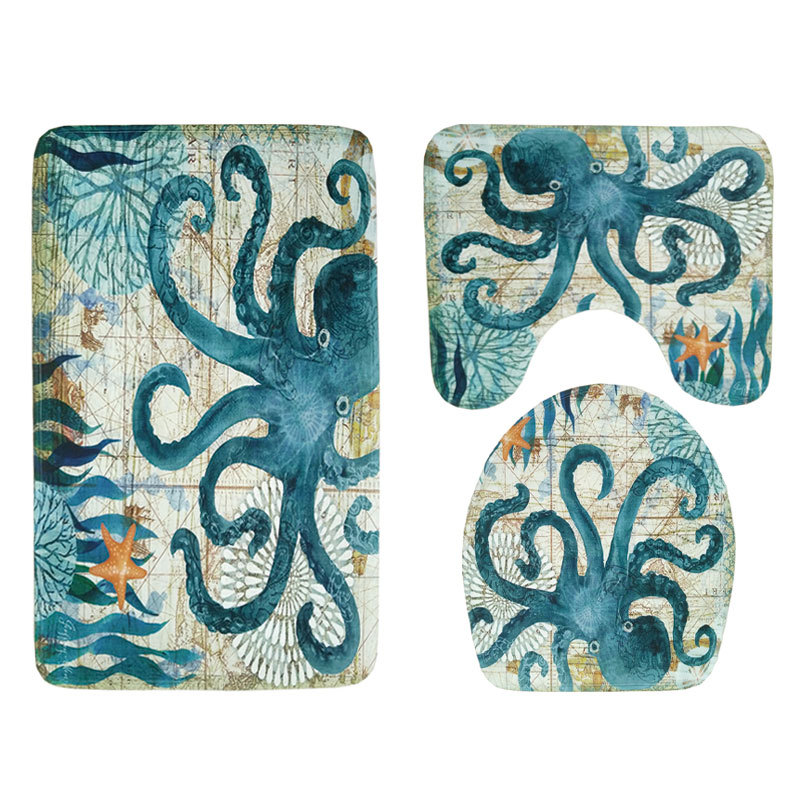 Remarkable Us 7 34 29 Off Flannel Octopus Sea Turtle Printed 3Pcs Set Toilet Seat Cover Wc Set Bathroom Mat Washable Rug For Washing Room In Mat From Home Uwap Interior Chair Design Uwaporg