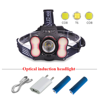 Bright sensing COB headlight head lamp head torch usb rechargeable headlamp flashlight 18650 t6 camping lantern lampe frontale