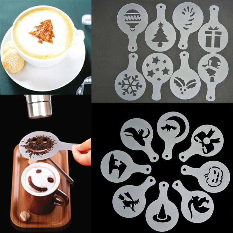 8pcs Halloween Christmas Coffee Barista Stencils Latte Cappuccino Art Diy Coffee Mold Decors China