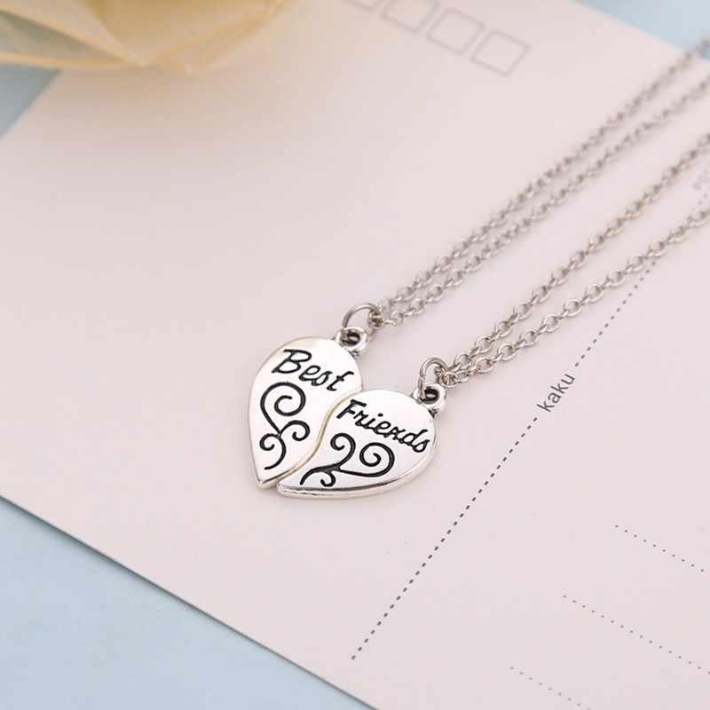 Biżuteria Unisex 2 szt naszyjnik najlepszy przyjaciel mężczyzna kobiet serce naszyjnik para pół Kolye srebrny/złoty kolor łańcuch