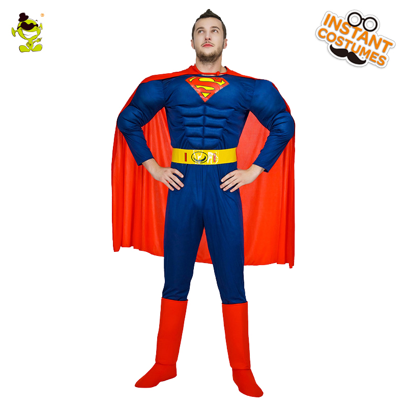 Adult Men's Super Man Costume Role Play Muscle Super Man Fancy Dress In Halloween Party  Cospaly Hero Super Man Costumes