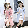 Embroidered Long Baseball Jacket for Girl Roman Lacquered Fabrics Solid Color Kids Girl Ourter & Coats Trendy Children Clothing