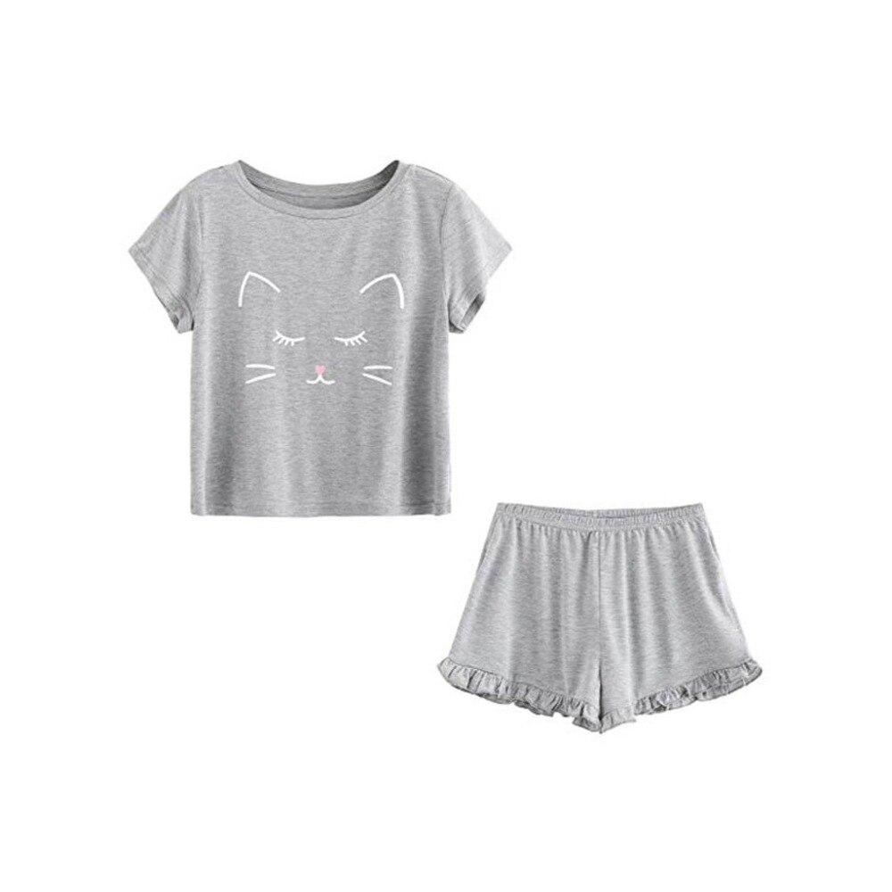 Artizan Frauen Kurze Pyjamas Set Kurzarm Shirts Pyjama Sets 2-stück Nachtwäsche Home