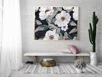 Hanami decor style with mosaic art handmade