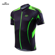 Fualrny Fluorescent green 100% POLYESTER Men's Cycling Jersey Short Sleeve Outdoor Sports Bicycle Cycle Clothing Riding Clothes