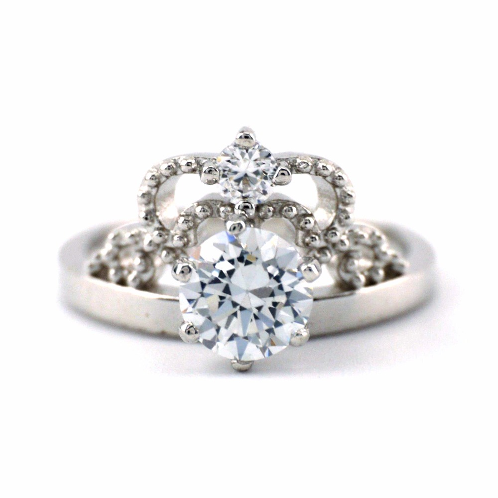 925 Sterling Silver Elegant Sparkling Zirconia Crown Engagement Ring  A3279(china (mainland))