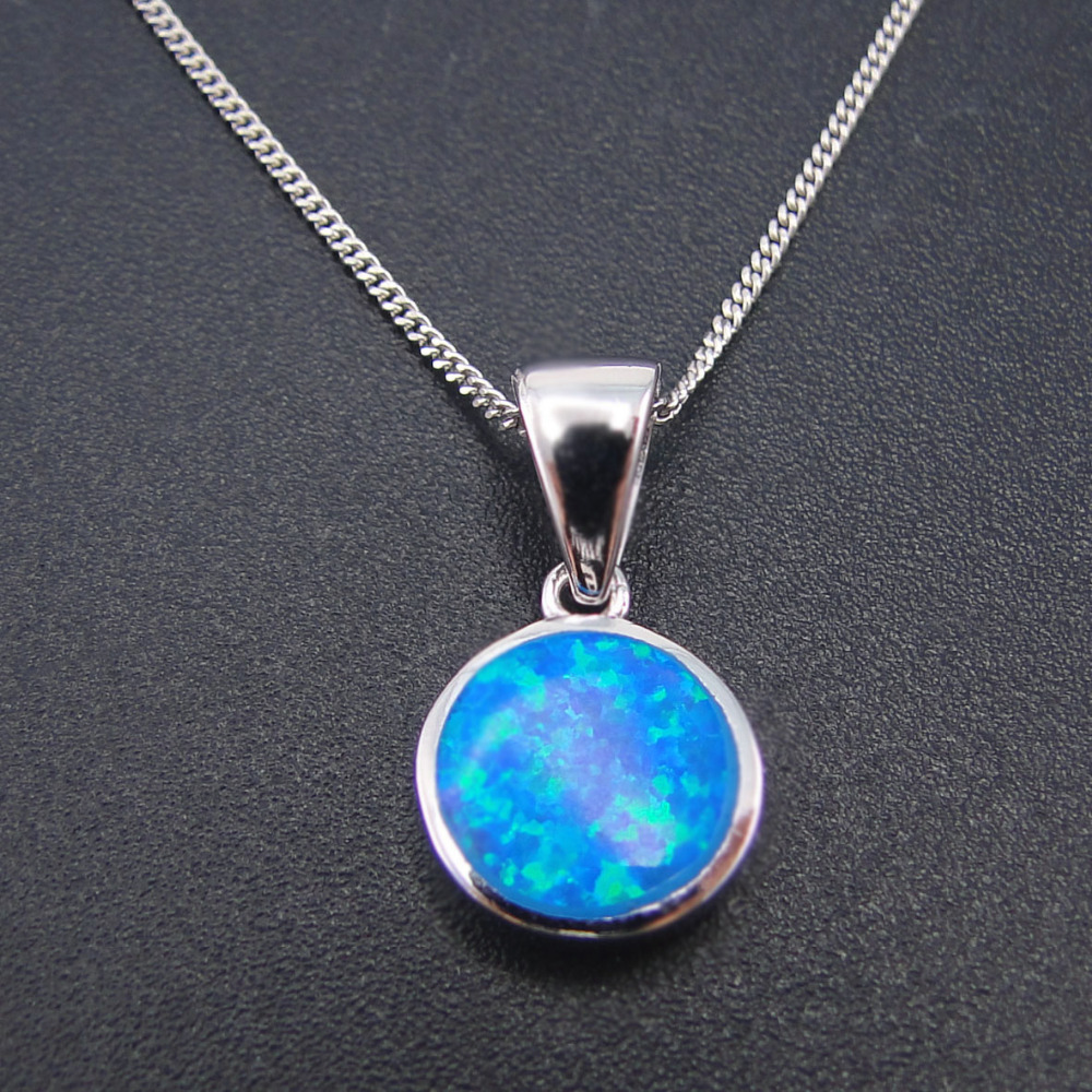 New Design 100% 925 Sterling Silver Pendants Round Cut Opal Fine Jewelry Blue Fire Round Opal Pendants For Women Without Chain