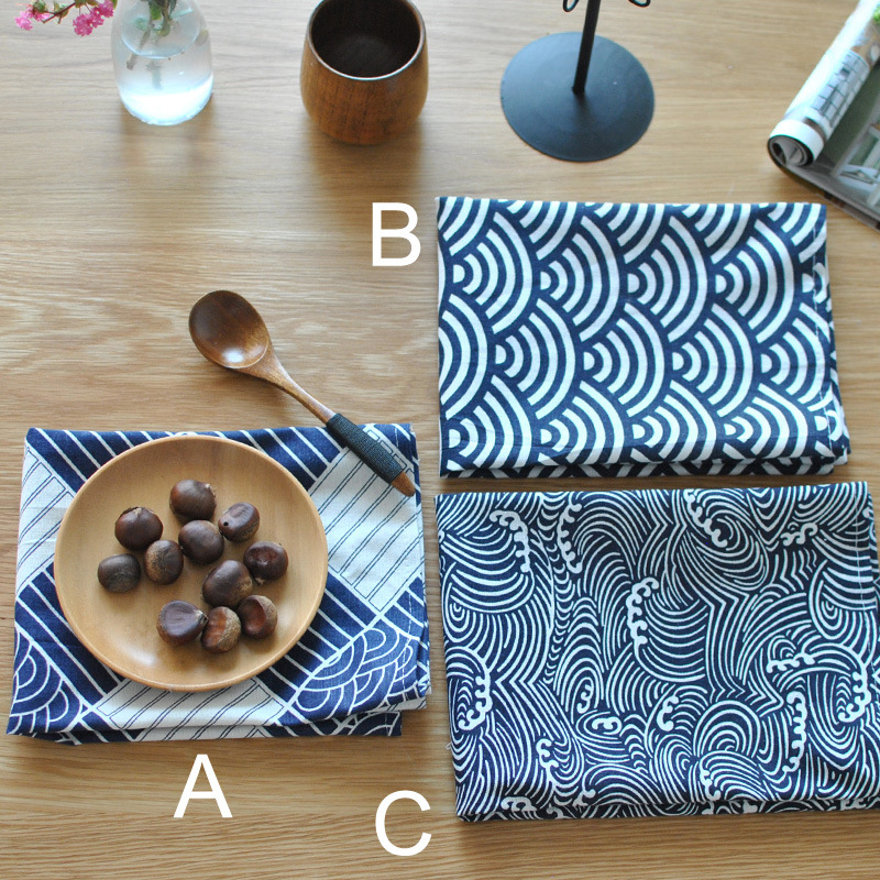 65*48Cm Hot Sale Japanese Style Linen Table Napkins Table Vintage