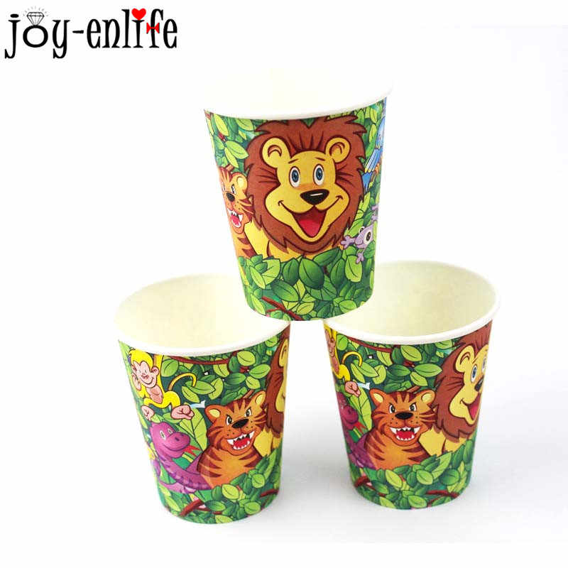 День рождения джунгли сафари вечерние наборы куханной утвари Дети Леса животного вечерние одноразовые тарелки чашки детские салфетки мальчик вечерние Декор