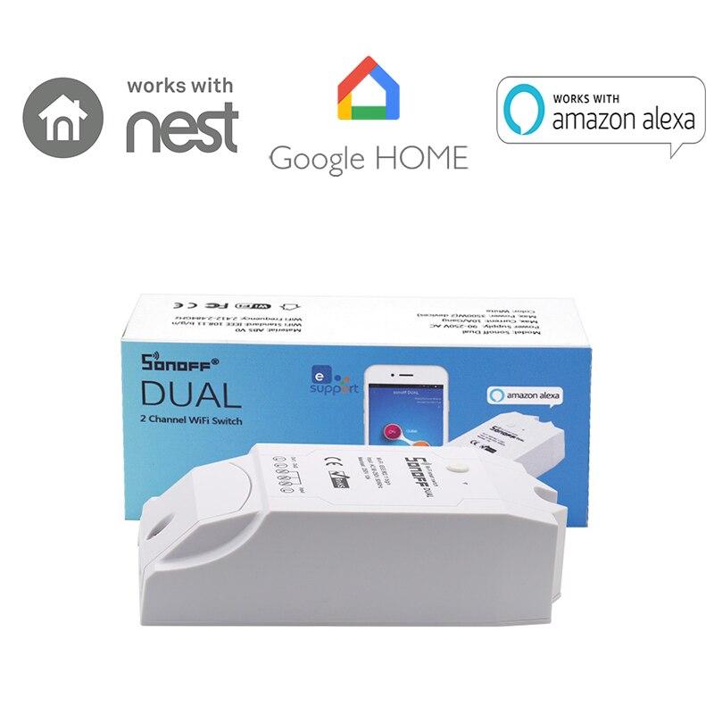 Itead Sonoff ערוץ הכפול 2 WiFi האלחוטי החכם שלט רחוק עיתוי ספירה לאחור מתג DIY עבור IOS אנדרואיד אוטומציה הבית חכמה