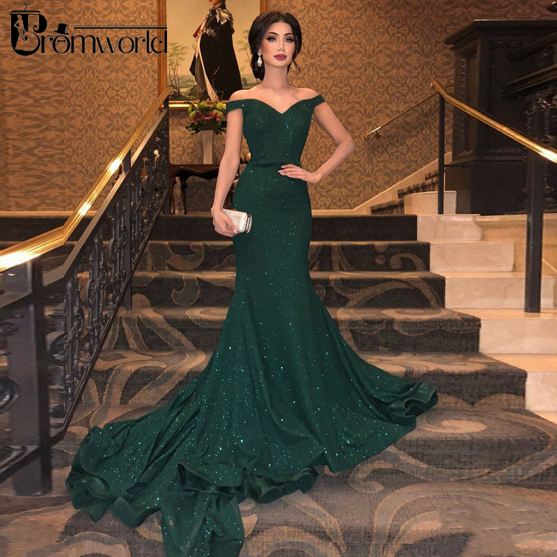 Green Muslim Evening Dresses 2019 Mermaid V-Neck Off The Shoulder Sequined Formal Islamic Dubai Saudi Arabic Long Evening Gowns