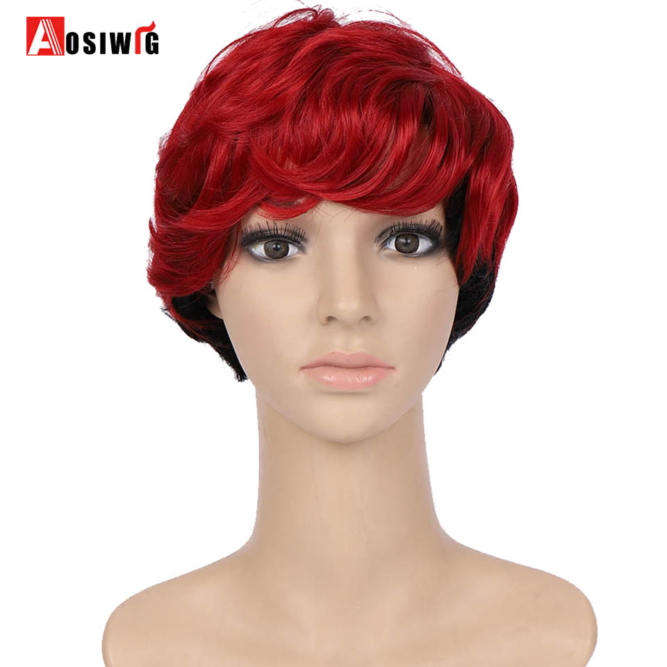 AOSI Women Synthetic Hair Wig Bob Haircut Pixie Style With Bangs Red Black Double Color Short Cosplay Wig