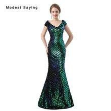 Nuevo Lujo Verde Sirena de Lentejuelas Vestidos de Noche 2018 con Sheer Volver Vestidos de Noche Largos Del Partido Prom Vestidos vestido de festa