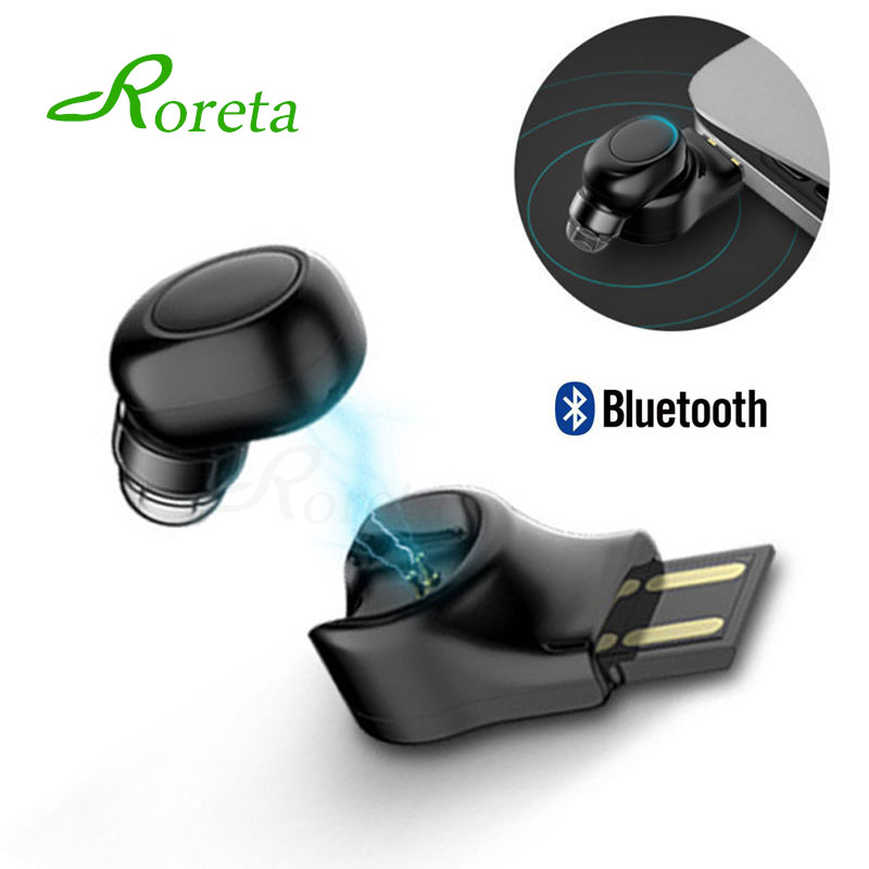 Mini Wireless handsfree USB Magnetic Charging with mic Bluetooth Earbud