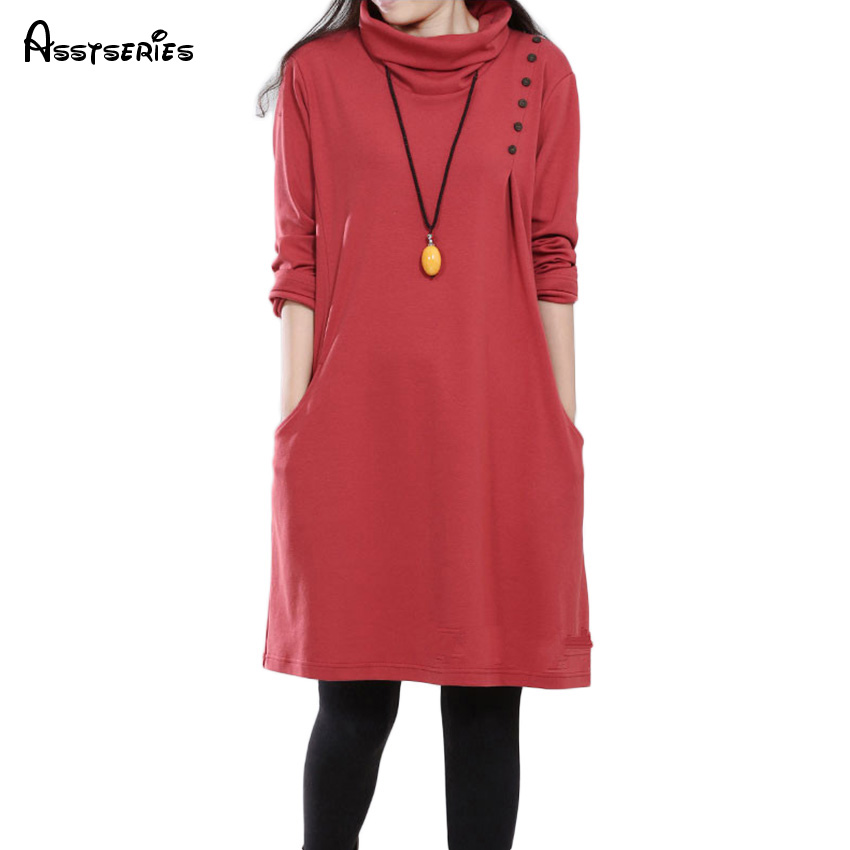 Free Shipping Women Dress Solid High Necked Casual Loose