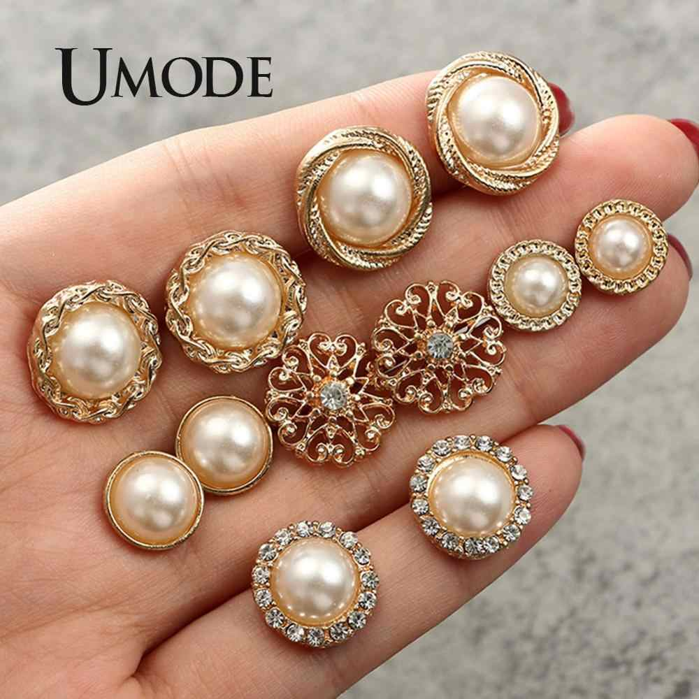 UMODE Gold Color Pearl Earrings Set for women Small Flower Fancy Stud Earrings Fashion Korean Girls Handmade Jewelry UPE1343