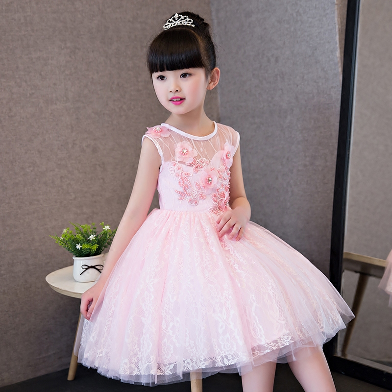 2017 New Korean Sweet Children Girls Pink Lace Princess Dress With Flowers Decoration Kids Costume Wedding Birthday Party Dress 2017 new high quality girls children white color princess dress kids baby birthday wedding party lace dress with bow knot design