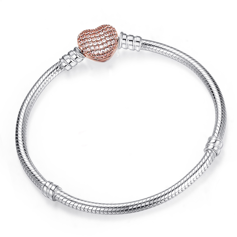 BAOPON High Quality Authentic Silver Color Snake Chain Fine Bracelet Fit European Charm Bracelet for Women DIY Jewelry Making 1