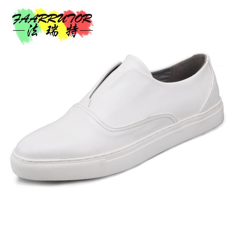 US SizeTrendy Mens Slip On White Leather Shoes  Boys Students Casual Oxfords Fashion Sneakers Driving Loafers pl us size 38 47 handmade genuine leather mens shoes casual men loafers fashion breathable driving shoes slip on moccasins