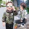 Дети верхняя одежда пальто Корейский стиль мальчиков молния Камуфляж печати Стеганые хлопка одежды ребенка случайные зима осень одежда