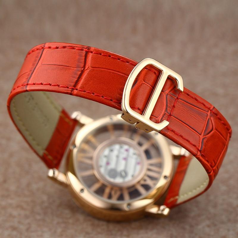 DOM luxe merk horloges waterbestendig lederen goud skelet quartz - Dameshorloges - Foto 4