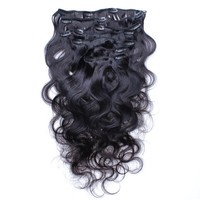 Brazilian Body Wave Clip Ins 100% Clip In Human Hair Extensions Straight Natural Hair Weave Black Color Remy Hair VENVEE