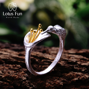 Image 1 - לוטוס כיף אמיתי 925 סטרלינג כסף ציפור טבעת Creative תכשיטים עיצוב מתכוונן Hummingbird טבעות לנשים מתנה לחג המולד
