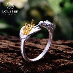 Lotus Spaß Echt 925 Sterling Silber Vogel Ring Natürliche Kreative Design Edlen Schmuck Einstellbare Hummingbird Ringe für Frauen Bijoux