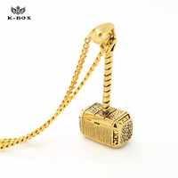 New Fashion Stainless Steel Gold Thor Hammer Necklace Dark World Classic Movies Exquisite Pendant Necklace Factory