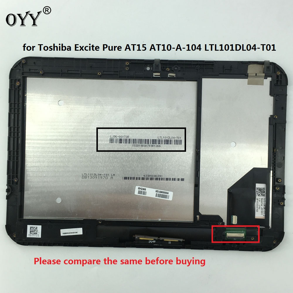 LCD Display Panel Monitor Touch Screen Digitizer Glass Assembly for Toshiba Excite Pure AT15 AT10-A-104 LTL101DL04-T01 touch screen for microsoft surface book lcd display digitizer assembly replacement repair panel fix part