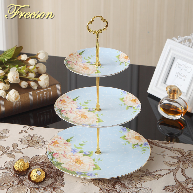 British Floral Bone China Fruit Plates Snack Dishes Cake Plate Candy Dish Porcelain Tray Ceramic Tableware
