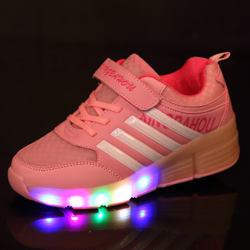 Children Sport Shoes New Fashion LED Lighted Mesh Breathable Kids Wheels Sneakers Boy & Girls Sports Casual Shoes Size 28-43 2016 new shoes for children breathable children boy shoes casual running kids sneakers mesh boys sport shoes kids sneakers