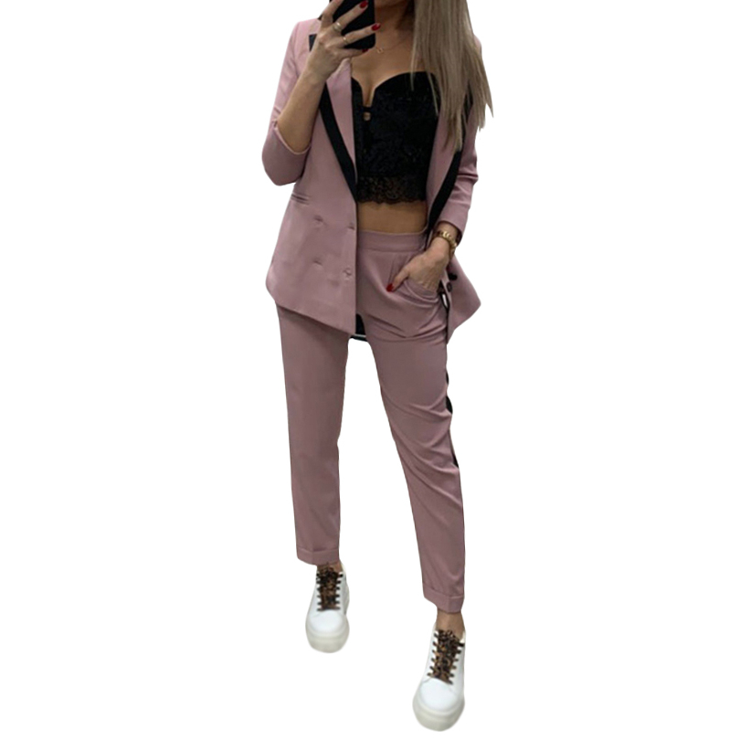 MVGIRLRU Womans Blazer Double-Breasted Button Notched Collar Work Suits 2 Pieces Set Elegant Jacket & Elastic Waist Pant Suit