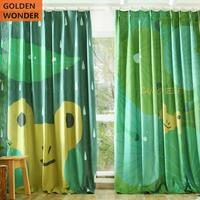 Green Color Cartoon Children Shade Cloth Kids Curtains For Bedroom Living Room Boys Lovely Frog Finished Product Healthy Fabric