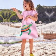 100% Хлопчатобумажная одежда для девочек Летняя девочка Платье для животных Вышивка Вечерняя принцесса Одежда Фирменное наименование Детские костюмы 2018 Новый