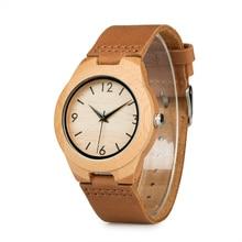 Mężczyzna kobiet zegarek drewno japoński ruch bambusa drewniane zakochanych zegarki z prawdziwej skóry zegarek z paskiem skórzanym relogio masculino V A31