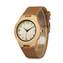 Men Womens Wood Watch Japanese Movement Bamboo Wooden Lovers Watches with Genuine Leather Wristwatch relogio masculino V A31
